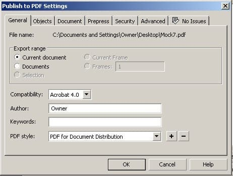 The Publish To PDF Settings dialog box