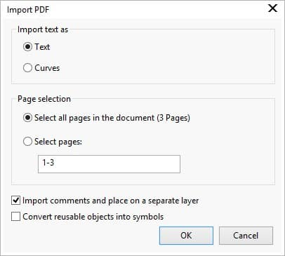 when you are importing a multipage pdf the import pdf dialog box expands to let you choose what pages to import