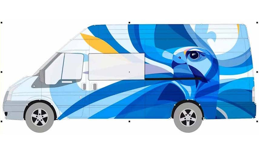 Design a vehicle wrap with free templates